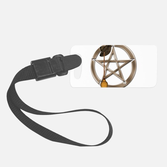 Silver Wiccan Pentacle and Broom Luggage Tag
