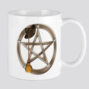 Silver Wiccan Pentacle and Broom Mugs