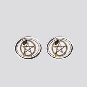 Silver Wiccan Pentacle And Broom Oval Cufflinks