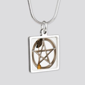 Silver Wiccan Pentacle And Broom Necklaces