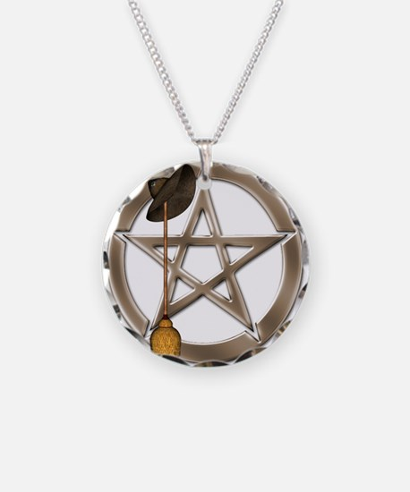 Silver Wiccan Pentacle And Necklace Circle Charm
