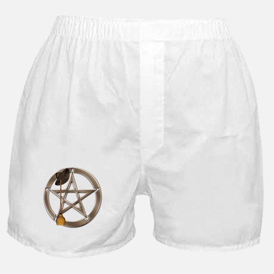 Silver Wiccan Pentacle and Broom Boxer Shorts