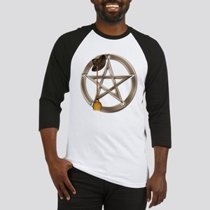 Silver Wiccan Pentacle and Broom Baseball Jersey