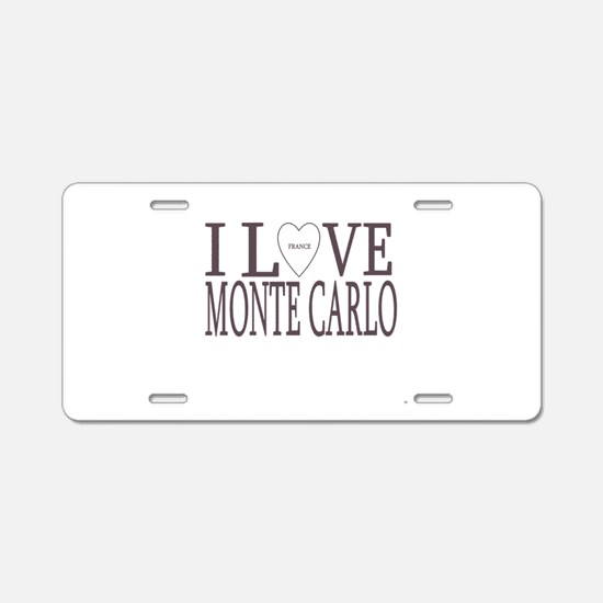 I Love Monte Carlo Aluminum License Plate