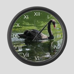 Black Swan Reflecting Large Wall Clock