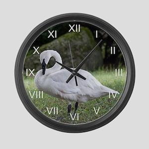 Trumpeter Swan Summer Large Wall Clock