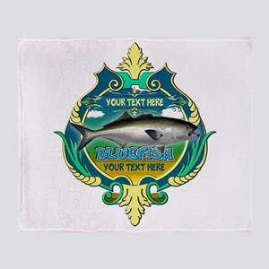 Personalized Bluefish Trophy Throw Blanket