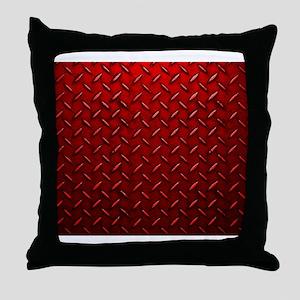 Red Diamond Plate Throw Pillow