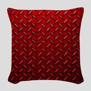 Red Diamond Plate Woven Throw Pillow