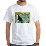 Irises & Boston Ter White T-Shirt