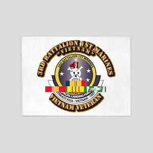 SSI - 3rd Bn - 1st Marines w VN SVC Ribbon 5'x7'Ar