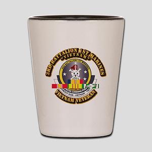 SSI - 3rd Bn - 1st Marines w VN SVC Ribbon Shot Gl