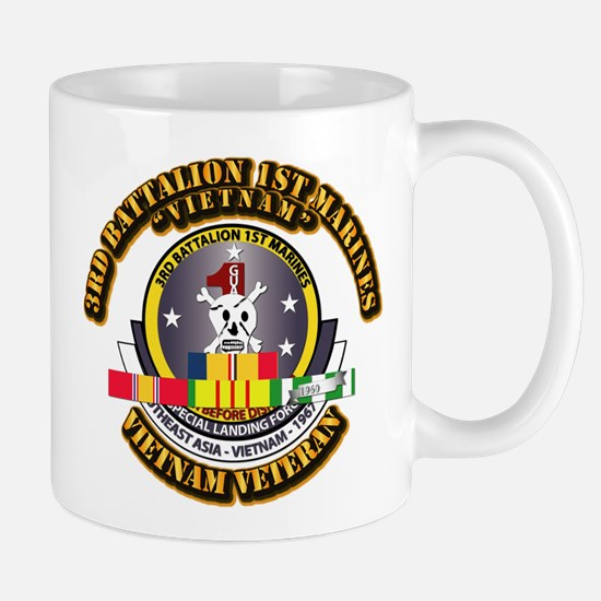 SSI - 3rd Bn - 1st Marines w VN SVC Ribbon Mug