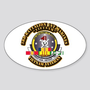 SSI - 3rd Bn - 1st Marines w VN SVC Ribbon Sticker