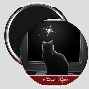 British Shorthair Gazing at Christmas Star Magnets