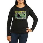 Irises & Boston Ter Women's Long Sleeve Dark T-Shi
