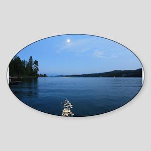 Moon over Flathead Lake Sticker (Oval)