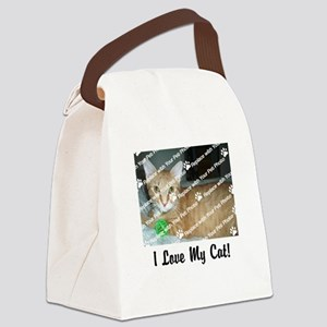 CUSTOMIZE Add Photo Love Cat Canvas Lunch Bag