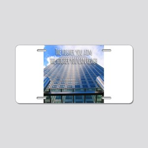 Aim High Reach High Aluminum License Plate