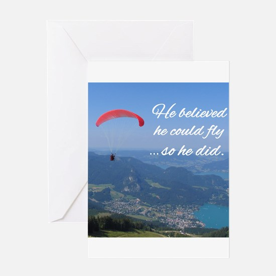 He believed he could fly so he did Greeting Cards