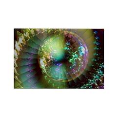 Bubble Planet Illusion Rectangle Magnet