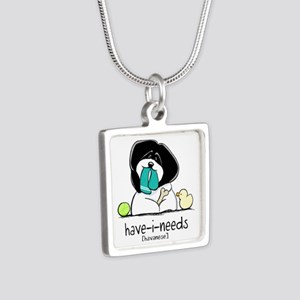 Have-i-Needs Havanese Silver Square Necklace