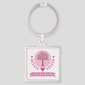 55th Anniversary Love Tree Square Keychain