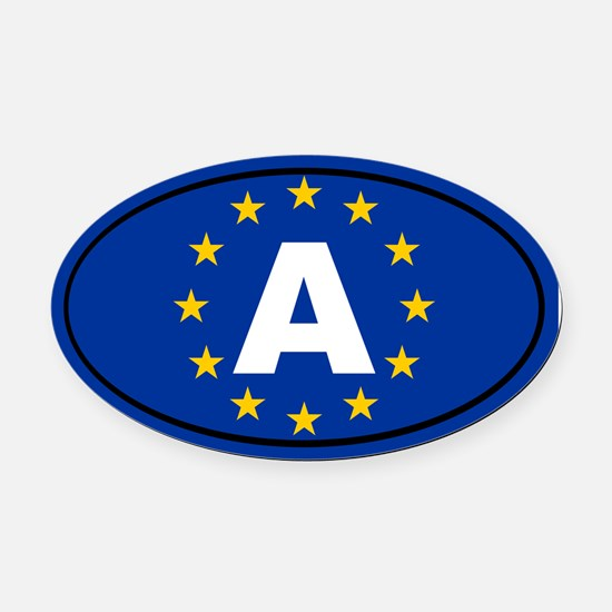 Austria European Union Oval Car Magnet