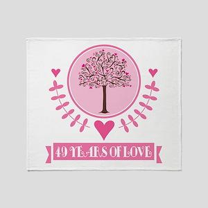 49th Anniversary Love Tree Throw Blanket