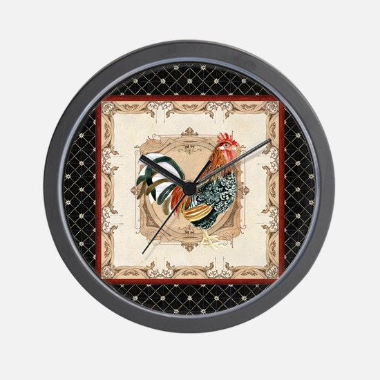 Vintage Rooster Country French Watercolor Black Wa