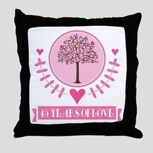 45th Anniversary Love Tree Throw Pillow