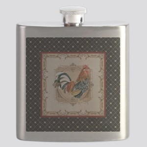 Vintage Rooster Country French Watercolor Black Fl