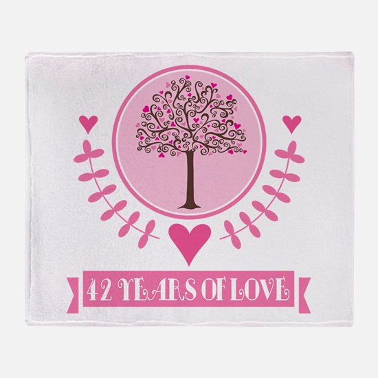 42nd Anniversary Love Tree Throw Blanket