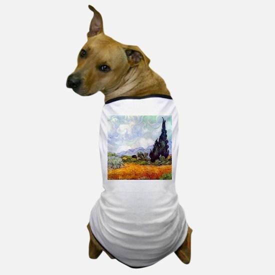 Van Gogh Wheat Field with Cypresses Dog T-Shirt