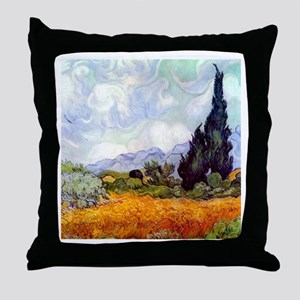 Van Gogh Wheat Field with Cypresses Throw Pillow