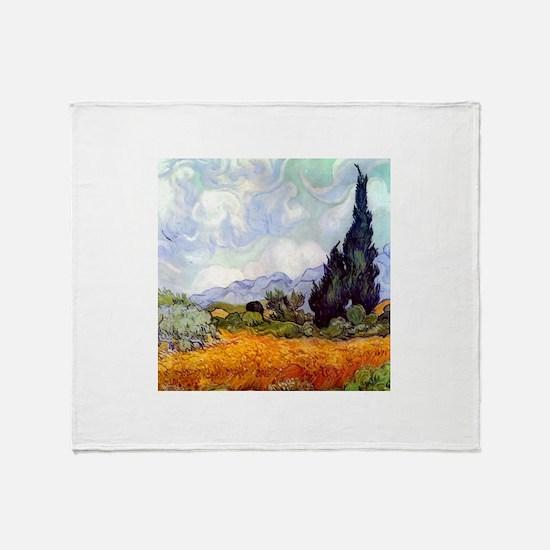Van Gogh Wheat Field with Cypresses Throw Blanket