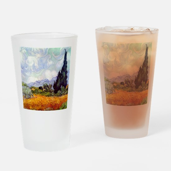 Van Gogh Wheat Field with Cypresses Drinking Glass