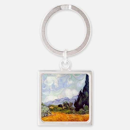 Van Gogh Wheat Field with Cypresses Keychains