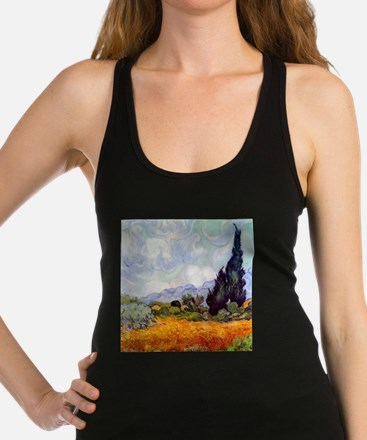 Van Gogh Wheat Field with Cypresses Racerback Tank
