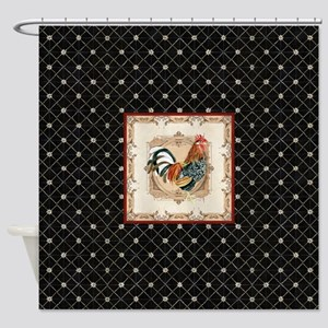 Vintage Rooster Country French Watercolor Black Sh