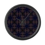 Blue Retro Fractal Pattern Large Wall Clock