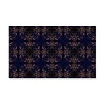 Blue Retro Fractal Pattern Wall Decal