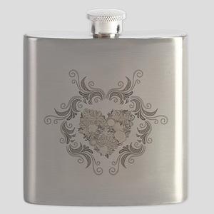 Vintage frame and heart-ANTIQUE Flask