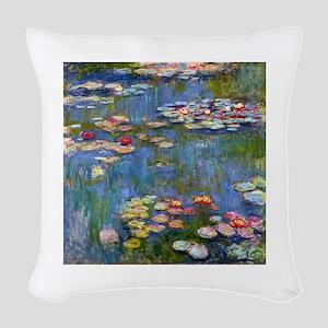 Monet Water lilies Woven Throw Pillow