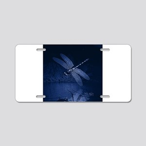 Blue Dragonfly at Night Aluminum License Plate