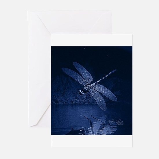 Blue Dragonfly at Night Greeting Cards