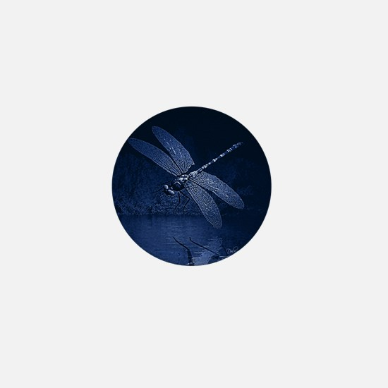 Blue Dragonfly at Night Mini Button