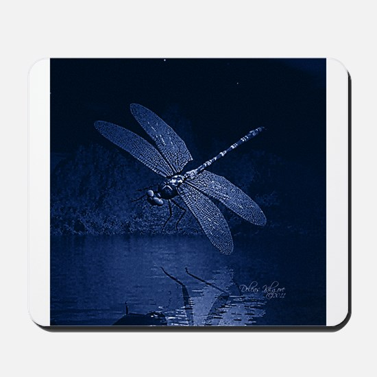Blue Dragonfly at Night Mousepad