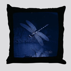 Blue Dragonfly at Night Throw Pillow