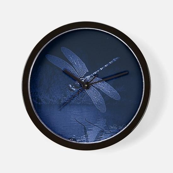 Blue Dragonfly at Night Wall Clock